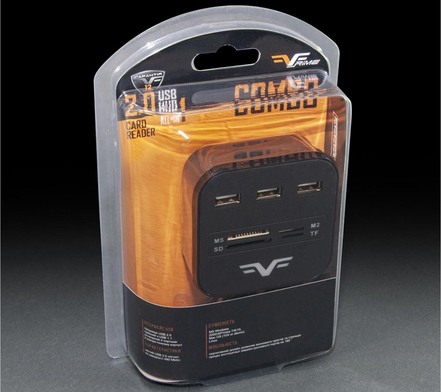 3-х портовый USB-хаб Frime с картридером All-in-One Black (FHC-AllinOne3p2B)