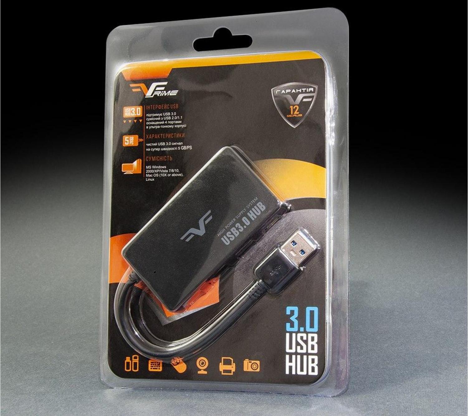 USB-хаб Frime 4-х портовый 3.0 Black (FH-30510)