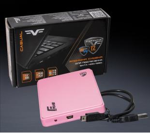 "Внешний карман Frime для 2.5"" SATA HDD/SSD Plastic USB 2.0 Pink (FHE12.25U20)"