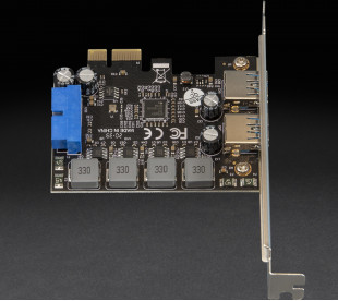 Плата расширения Frime PCI-E to USB3.0 (2 порти) 3A/порт+19pin NEC720201