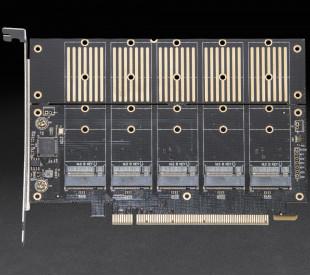 Плата расширения Frime PCI-E x16 to 5 x M.2 (B Key), JMB585 (ECF-PCIEtoSSD010)