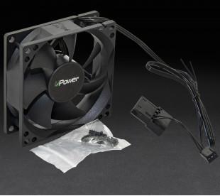 Вентилятор UPower 80x80х25мм 3pin+Molex 1600rpm HB Bearing Black